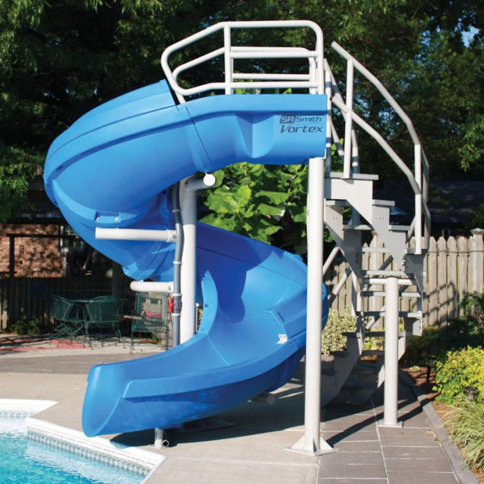 Sr Smith 695 209 13 Vortex Pool Slide Half Tube With Ladder Blue Pool Supplies Superstore